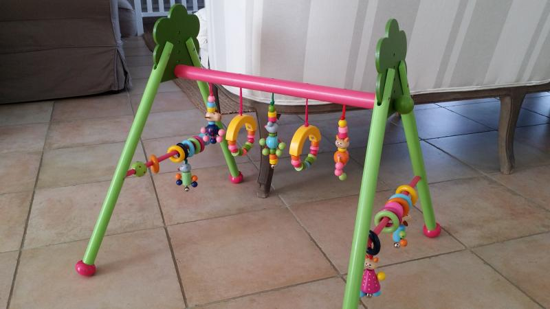 solini Le portique d/'/éveil /«/Jungle//» en bois r/églable en hauteur centre dactivit/és multicolore