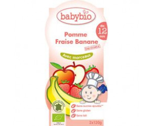 Compote pomme, fraise, banane