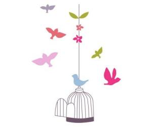 Sticker geant cage et oiseaux chambre fille