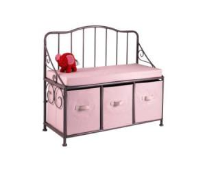 banc coffre fille metal et tissu vertbaudet avis. Black Bedroom Furniture Sets. Home Design Ideas