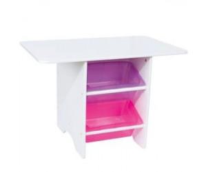 Table de jeu laqué blanc : 4 bacs rose et parme