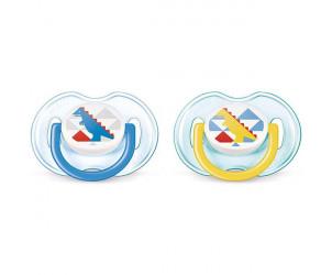 2 sucettes décorées garçon silicone 0 - 6 mois