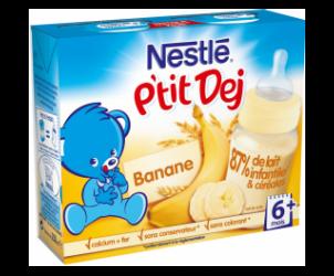 Nestlé P'tit Dej - Brique lait & céréales banane