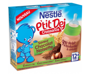 Nestlé P'tit Dej - Brique lait & céréales chocolat noisette