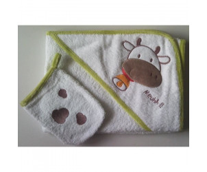 Sortie de bain et gant de toilette Vache