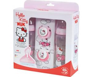Coffret biberons sans bpa et sucettes Hello Kitty