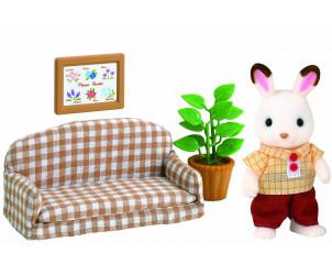 Papa lapin chocolat avec son salon