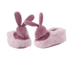 Chaussons bébé lapin parme (parme et celadon)