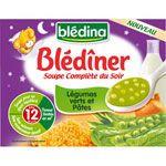 BLEDINER Soupe du soir légumes et pâtes 2 x 250 ml dès 12 mois