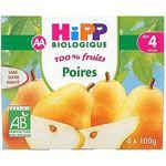 Poires 100% fruits - 4 coupelles x 100g - 4 mois