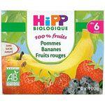 100% fruits Pommes bananes fruits rouges 4 x 100 g dès 6 mois