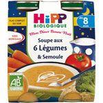 Soupe aux 6 légumes et semoule 20 cl dès 8 mois