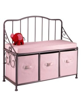 banc coffre fille metal et tissu vertbaudet avis. Black Bedroom Furniture Sets. Home Design Ideas
