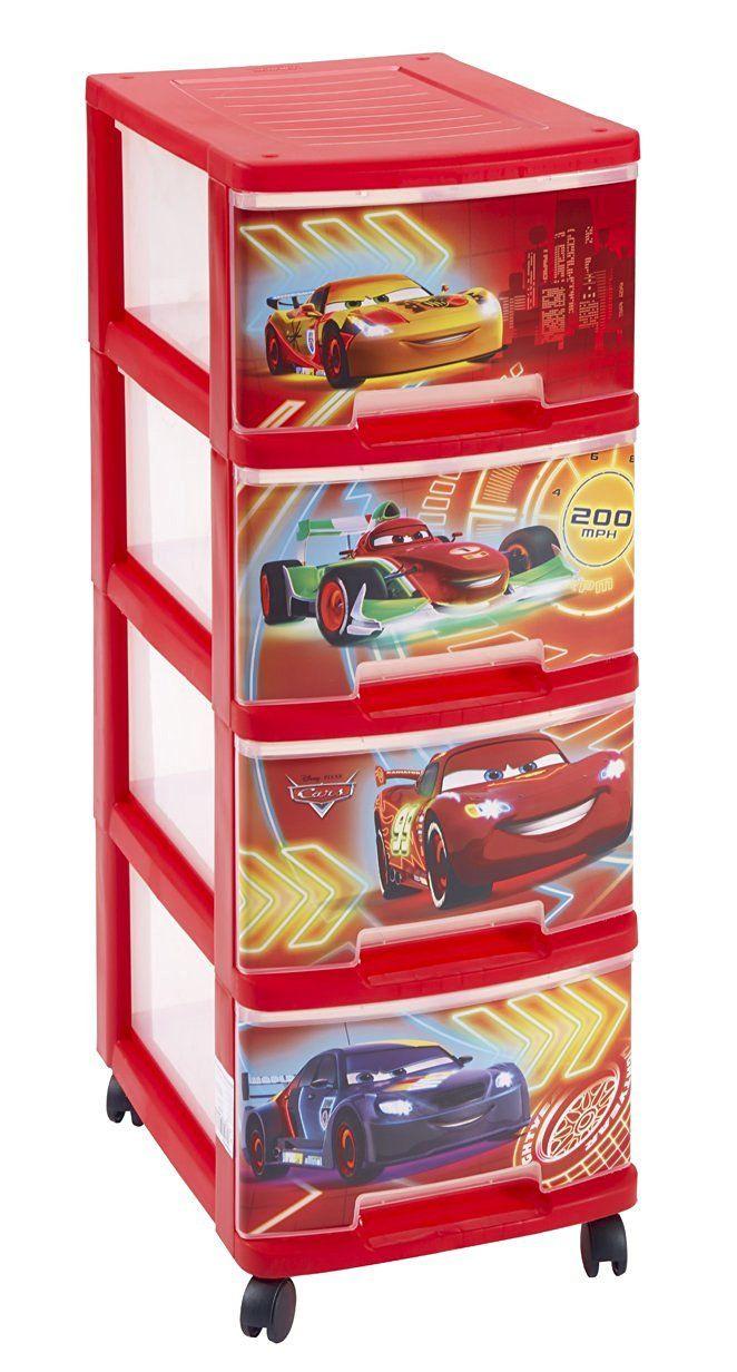 Tour de rangement 4 tiroirs sur roulettes cars curver avis - Coffre de rangement sur roulettes ...