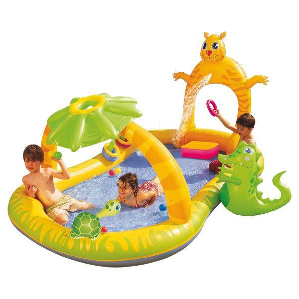 piscine aire de jeux gonflable toboggan safari logitoys : avis