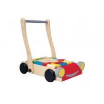 Chariot de marche en bois avec cubes