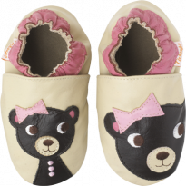 Chaussons cuir souple Ourson