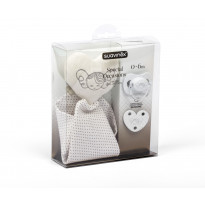 Set Doudou + Sucette + Attache-sucette Collection White
