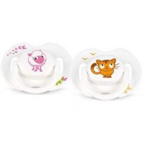 2 sucettes orthodontiques animal silicone 0-6 mois