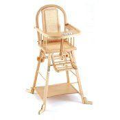 Chaise haute bois cannée transformable