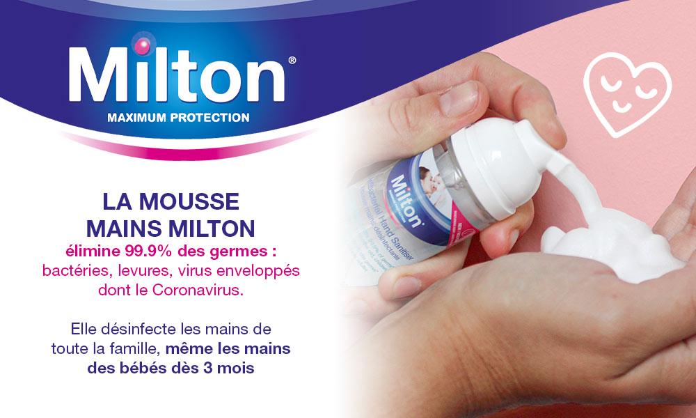 baby test Mousse mains désinfectante MILTON