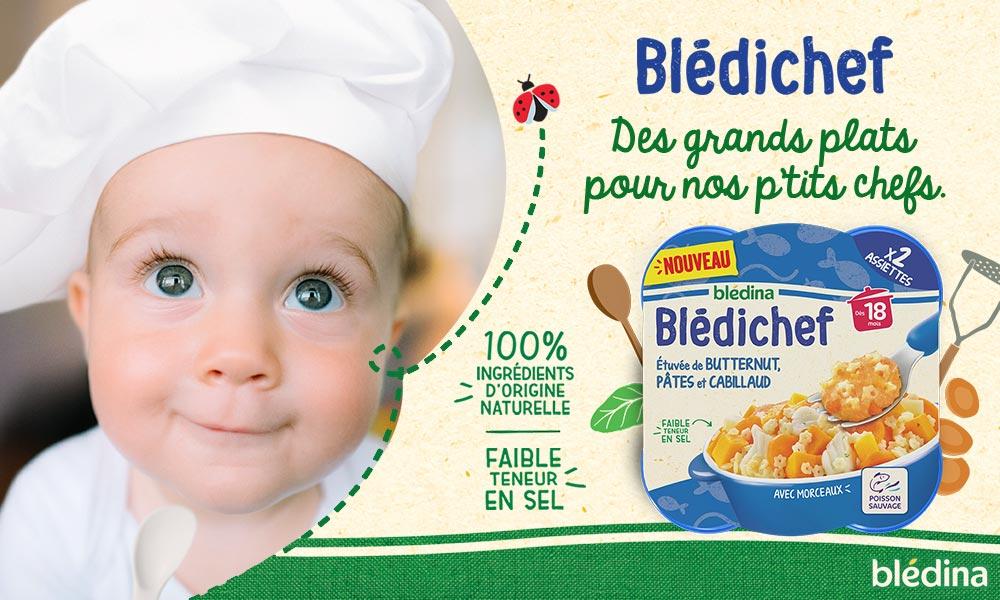 baby test bledichef etuvée de butternut, pâtes et cabillaud de bledina