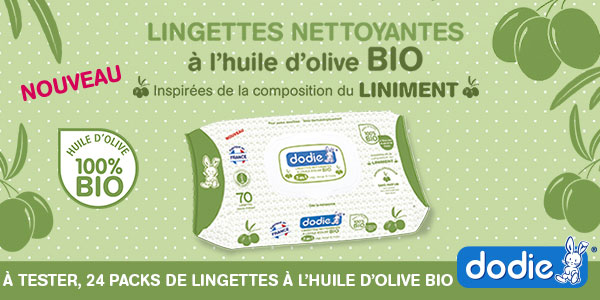 baby test lingettes huile d'olive bio dodie