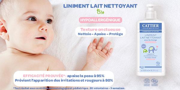 baby test liniment lait nettoyant cattier
