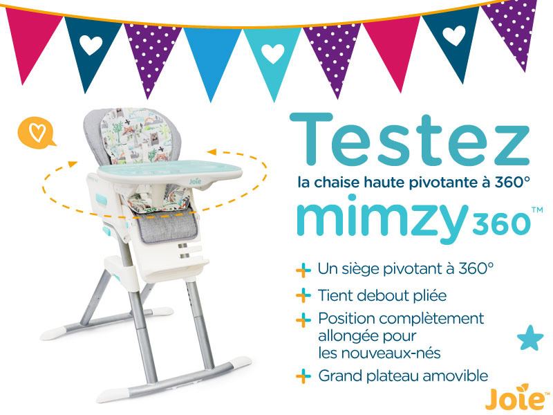 A tester chaise haute pivotante mimzy 360 for Chaise qui tourne
