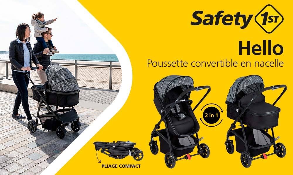 baby test poussette hello 2 en 1 safety 1ST