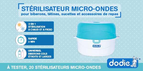 baby test sterilisateur micro-ondes dodie