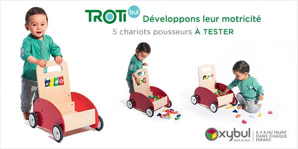 baby test chariot pousseur trotibul oxybul